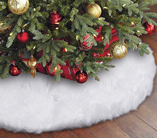 (Eafion Christmas Tree Skirt 48 inches Large Snowy White Faux Fur Xmas Tree Skirt for Christmas Decorations Indoor Outdoor)