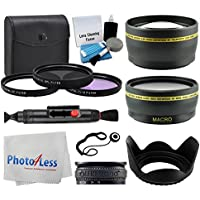 55mm Lens 3 Piece Filter Accessory Kit for Canon, Nikon, Sony, Samsung, UV/CPL/FLD + Telephoto Lens + Wide Angle + Lens Hood + Lens Cap Holder + Cleaning Cloth + 5 Piece Cleaning Kit + Value Bundle