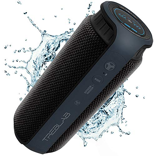 TREBLAB HD55 – Deluxe Bluetooth Speaker – Impeccable 360° HD Surround Sound & Best Bass, Great For Office, Travel & Beach Parties, Waterproof IPX4, Loud 24W Stereo, Portable Wireless Blue Tooth w/ Mic