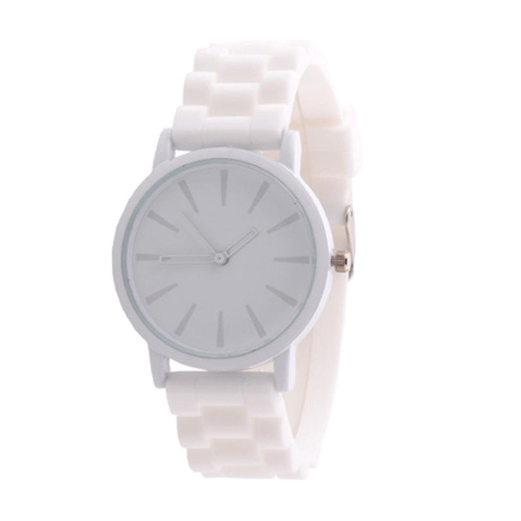 Hemlock Unisex Girl's Fashion Jelly Gel Silicone Rubber Quartz Sports Wrist Watch White