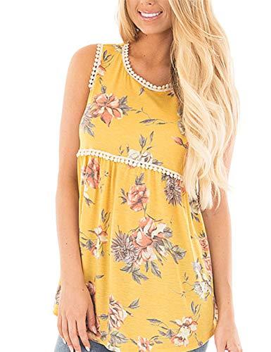 Floral Tank Top Women Yellow Tunic Sleeveless Pleated Blouse Flowy Badydoll Tops Summer Shirt