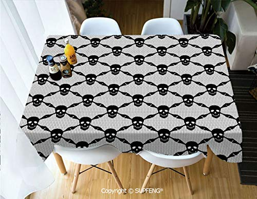 Square tablecloth Halloween Horror Theme Spooky Black Skulls Checkered Pattern with Skeleton Bones (55 X 72 inch) Great for Buffet Table, Parties, Holiday Dinner, Wedding & More.Desktop -