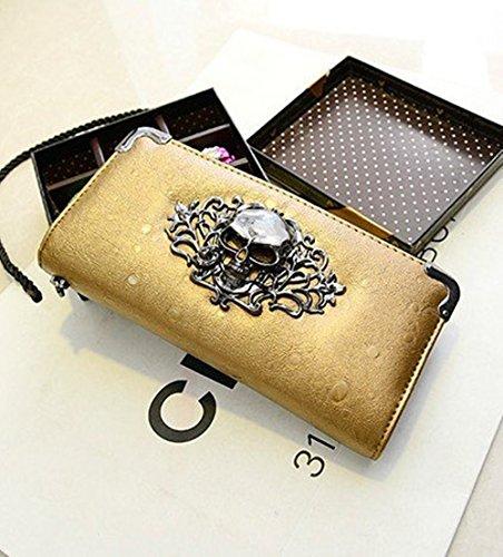 Oripo - Bolso mochila  de poliuretano para mujer dorado