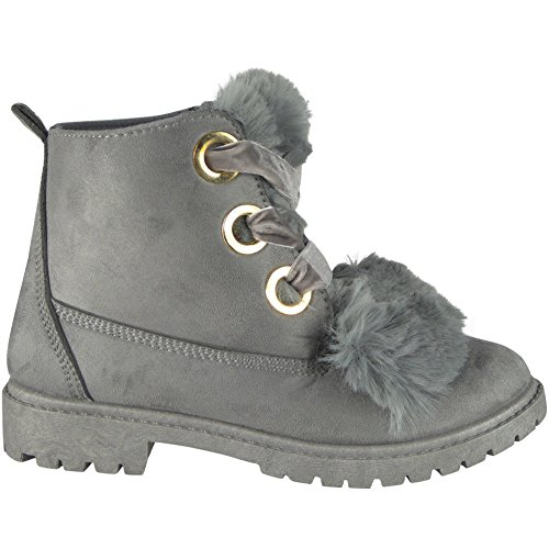 Ladies Fur Lining High Top Low Heel Lace up Ankle Boots Size 3-8 Grey xyhMCHuy