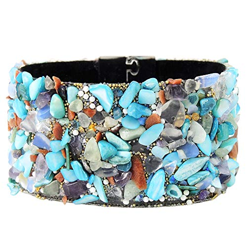 (Turquoise Network Wrap Bracelets for Women Gemstone Style Faux Leather Magnet Clasp Boho (Choose Color))