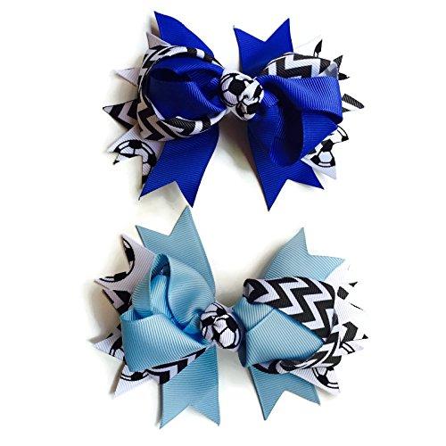 [Rush Dance Team Spirit Soccer (Football) Chevron Ribbon Bow Head 2 Piece wears (Light Blue & Royal] (Dancing Dolls Costumes)