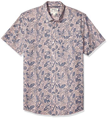 Goodthreads Men's Standard-Fit Short-Sleeve Printed Poplin Shirt, Pink Parrot, Large