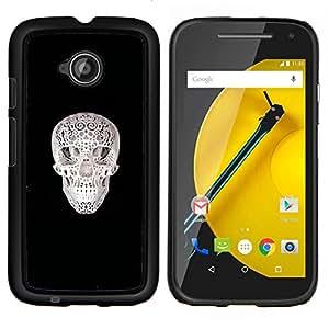 LECELL--Funda protectora / Cubierta / Piel For Motorola Moto E2 E2nd Gen -- Cráneo Impreso --