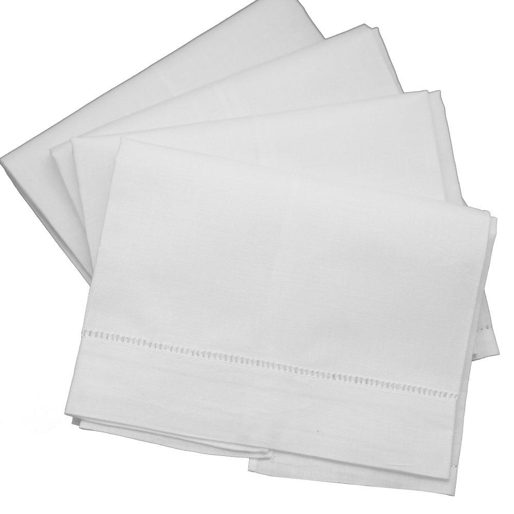 Blanco Lino con vainica té towels-set de 4- Escalera, dobladillo de punto de gamuza de toallas de mano: Amazon.es: Hogar