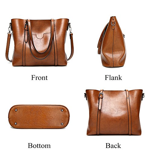 Satchel Retro Purse Handle Top Handbags Women Brown Mynos Tote Bag Shoulder Style Occident wSqI1Z