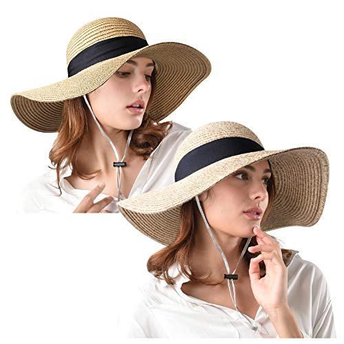 Womens Wide Brim Straw Hat UPF 50+ Floppy Foldable Roll up Beach Sun Hats for ()