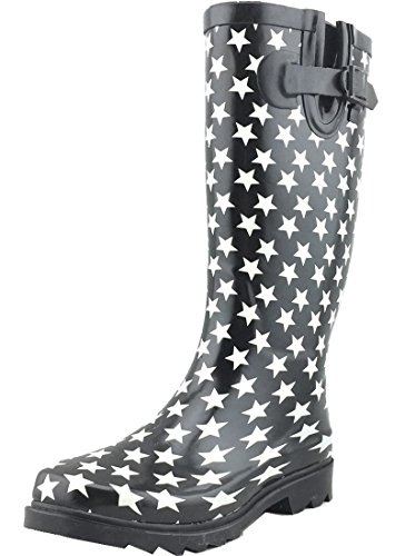 Cambridge Select Women's Pattern Print Colorful Waterproof Welly Rain Boots (10 B(M) US, White Stars)