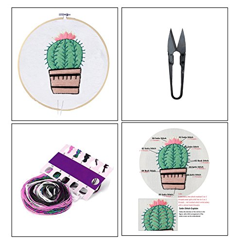Full Set of Handmade Embroidery Starter Kit with Partten Cross Stitch Kit Including Embroidery...
