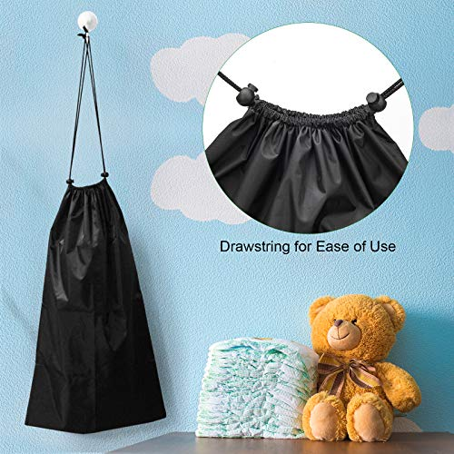 Wiwaplex 1 Pack Reusable Diaper Pail Liner Black Waterproof Cloth Diaper Pail Wet Bag with Drawstring, Suitable for Dekor, Ubbi, Munchkin, Tommee Tippee, AKORD
