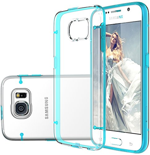 S6 Case, Galaxy S6 case, E LV Samsung Galaxy S6 Case Slim Fit Scratch-Resistant Transparent Back Soft TPU Bumper Case Cover for Samsung Galaxy S6 with 1 E LV microfiber cleaning cloth - BLUE