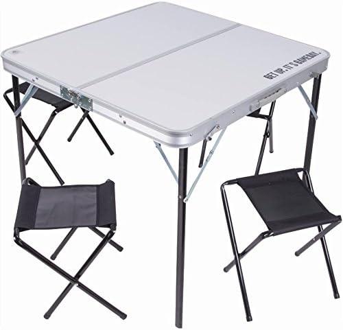 Mesa Mesa Plegable 80 x 80 cm (aluminio con 4 sillas taburetes ...