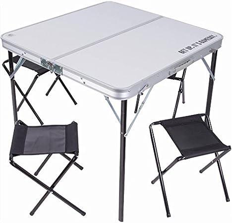 Tavolo Da Campeggio Con Sedie.Tavolo Tavolino Pieghevole 80x80cm In Alluminio Con 4 Sedie