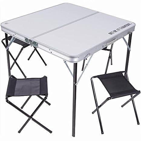 Tavolo Sedie Campeggio.Tavolo Tavolino Pieghevole 80x80cm In Alluminio Con 4 Sedie Sgabelli Picnic Da Campeggio Richiudibile A Valigetta Arredo Pratico E Moderno Per