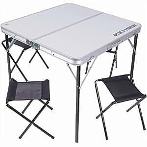 Mesa mesa plegable 80 x 80 cm aluminio con 4 sillas for Mesa de camping plegable con sillas