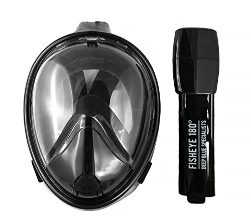 FishEye 180° Full Face Snorkel Mask - Latest 2017 Tubeless Design Using Superior Dry Snorkel Technology. Anti-fog, Anti-Leak, Snorkeling Mask With Larger Viewing Area. (Black, - Technology Superior