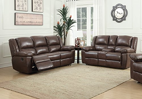 Container Furniture Direct Oregon Recliner Sofa and Console Loveseat , Hot stamping Cloth Fabric (2pc) (Brown) price