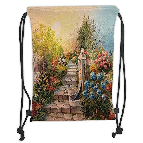 Flower,Opium Poppy Field and Beautiful Yard Sunset Over The Ocean Under The Clouds Picture,Multicolor Soft Satin,5 Liter Capacity,Adjustable String Closur