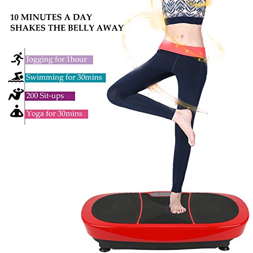 Z ZELUS 3D Fitness Whole Body Vibration Platform Machine - 400W Dual Motors Vibration Plate Crazy Fit Massage Exercise Machine with Remote Control & Resistance Bands(Red) by Z ZELUS (Image #6)
