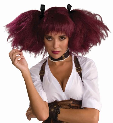 Forum Novelties Women's Steampunk Pig Tails Costume Wig, Burgundy, One Size (Mad Scientist Costumes)