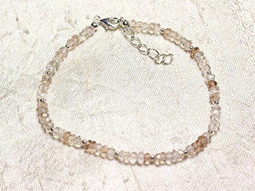JP_Beads Bracelet Sterling Silver and Stone - Topaz Imperial 3x2mm Faceted rondelles ()