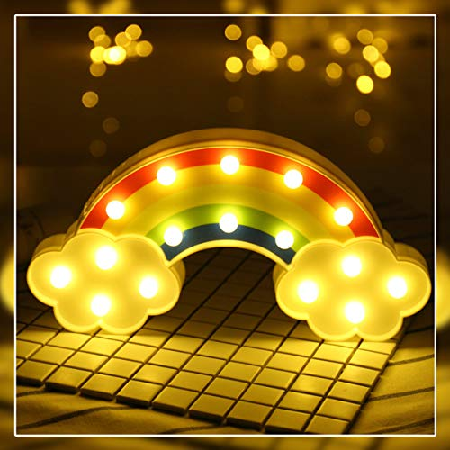 Rainbow Marquee Light GUOCHENG Decor Light LED Night Light Battery Operated Table Lamps on Wall for Party Children Kids Bedroom Lighting Decor Birthday,Christmas Gifts for Kids (Multi-colored Rainbow)