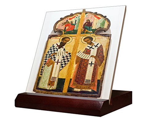 Antique Russian Orthodox Icon Royal Gate Ceramic Tile & Stand 6