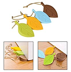 Door Stopper-UNEGO Decorative Doorstops Rubber Door Wedge Soft Color-Leaf Silicone Secure Doors Finger Protector for Home Office-Set of 4 Packs-Yellow,Brown,Blue,Green (Flexible,Non-slip,Heavy Duty)