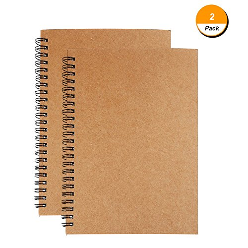 Soft Cover Spiral Journal Notebook (2-Pack), Alloyseed Wirebound Memo Notepads Blank Sketchbook Diary Notebook Planner Unlined Paper, 100 Pages, 50 Sheets (50 Page Notebook)