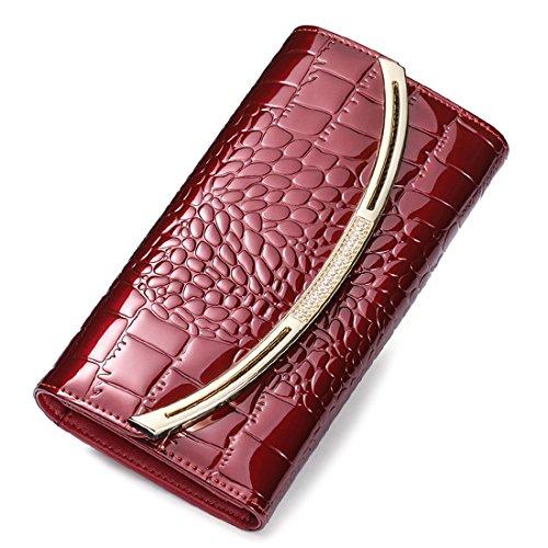 HT Croc Skin Embossed Clutch - Cartera de mano para mujer dorado