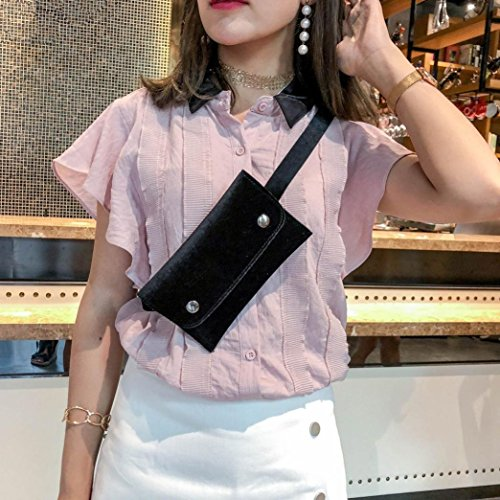 Chest Winkey Leather Mini Shoulder Black Bag Bag Bag Waist Bag Messenger Women Cad4n6a
