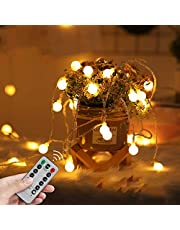LED Fairy Lights USB Globe Ball String Lights with Remote Christmas light 33Ft 100LED Children's Light Decor for Indoor Bedroom Curtain Patio Holiday Outdoor Party Wedding Christmas Tree Garden Lawn Landscape (Warm White)