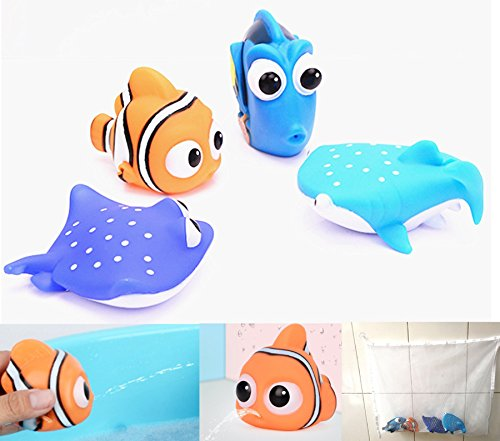 - NF orange 4 pcs Finding Dory Nemo Squirt Bath Squirters Toys Figures Kids Baby Shower Swim Add one Mesh witch Storage Bag
