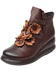 Mordenmiss Womens Front Daisy Platform Boots Flower Mid Wedge Winter Wear