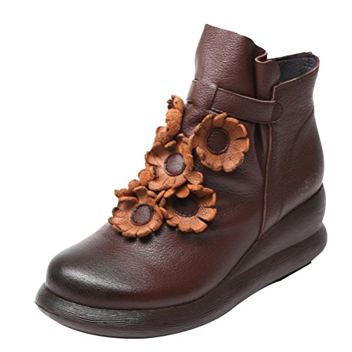 Boots Flat New Women's coffee Ankle C Mordenmiss Leather 6q7angWgw