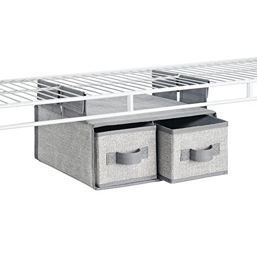 InterDesign Aldo Fabric Hanging Closet Storage Organizer, 2 Drawers for Wire Shelving - Gray (Linen Closet Shelving Systems)