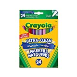 Crayola 24 Washable Fine Line Markers, Colossal, School and Craft Supplies, Drawing Gift for Boys and Girls, Kids, Teens Ages  5, 6,7, 8 and Up, Holiday Toys, Stocking Stuffers, Arts and Crafts
