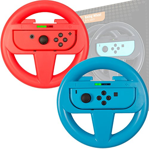 Orzly Steering Wheels [TWIN PACK] Compatible With Switch Joy-Cons - Pack of RED & BLUE Steering Wheel Accessory Attachments [with Built-In Light Display Indicators] for use with Nintendo Switch