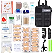 GRULLIN Emergency Tactical EMT First Aid Bleed Control Kit, Military Quick Release MOLLE Pouch with Trauma Shear, Splint…