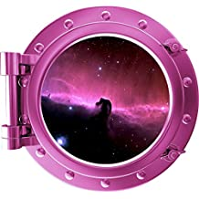 "6"" COLORED PORTSCAPE Pink Instant Space Window Horse Head Nebula 1 Wall Graphic Porthole Decal Sticker Mural Home Kids Room Art Decor"