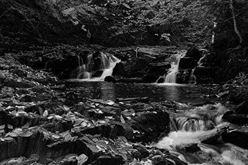 秋の滝の壁紙-自然の壁紙-#36508 - 白黒の キャンバス ステッカー 印刷 壁紙ポスター はがせるシール式 写真 特大 絵画 壁飾り120cmx80cm