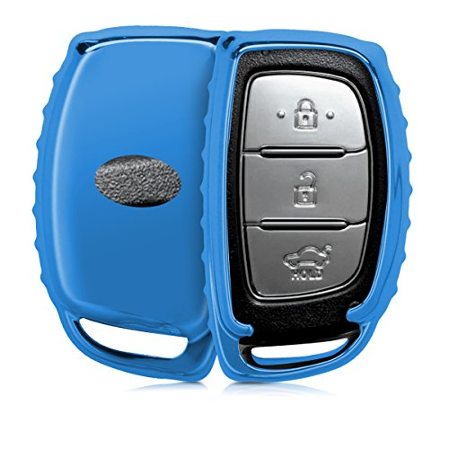 kwmobile Case for Hyundai Kia 3 Button Car Key Keyless Go - TPU Key protective case in blue high gloss - Box key cover cover car ignition key from kwmobile
