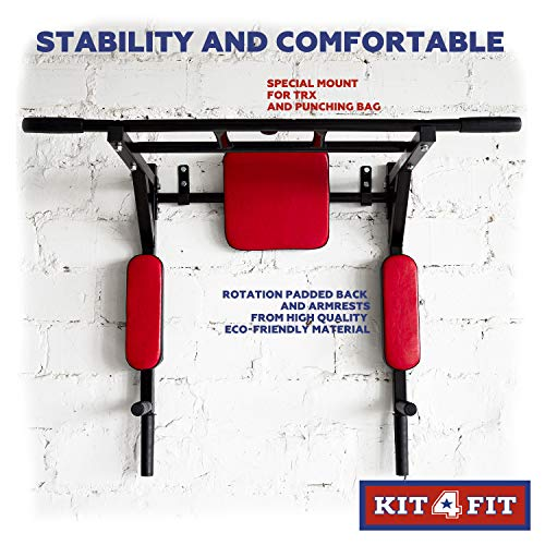 Wall Mounted Pull Up Bar and Dip Station with Vertical Knee Raise Station Indoor Home Exercise Equipment for Men Woman and Kids Great for Workout and Fitness (Red) by Kit4Fit (Image #3)