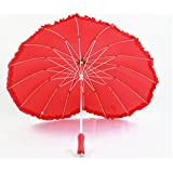 Fiber lace heart-shaped creative umbrella sunshade umbrella straight shank Art