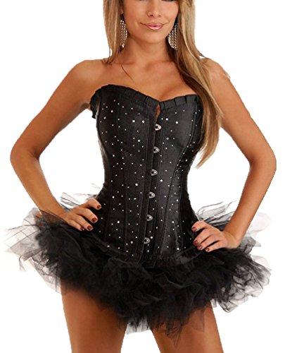 Impresionante corsé Negro Diamante y una falda tutú, de línea larga y acabado en negro satinado, el tamaño 34,36,38,40,42,44,46,48,50,52 Por Aimerfeel negro y tutú