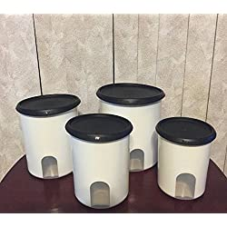 TUPPERWARE ONE TOUCH REMINDER 4-PC. CANISTER SET/BLACK WITH NEW DESIGNED SEALS